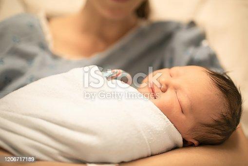 587876546 istock photo Sleeping newborn baby 1206717189