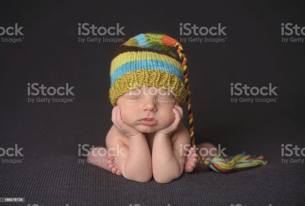 Sleeping Newborn Boy in Knit Hat royalty-free stock photo