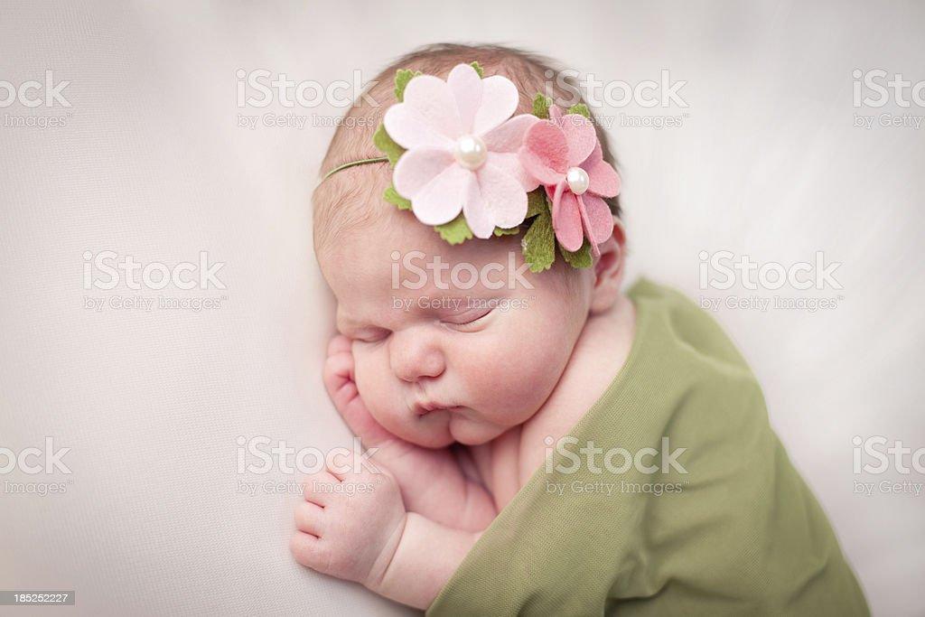 Sleeping Newborn Girl Swaddled in Soft, Green Blanket royalty-free stock photo