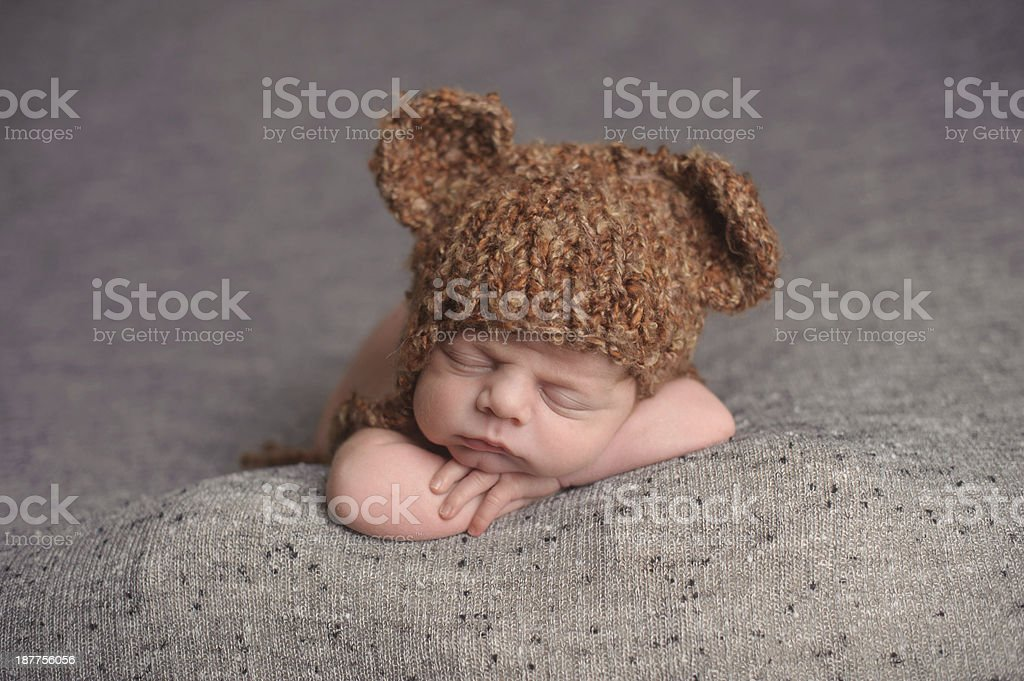 Sleeping Newborn In Hat royalty-free stock photo