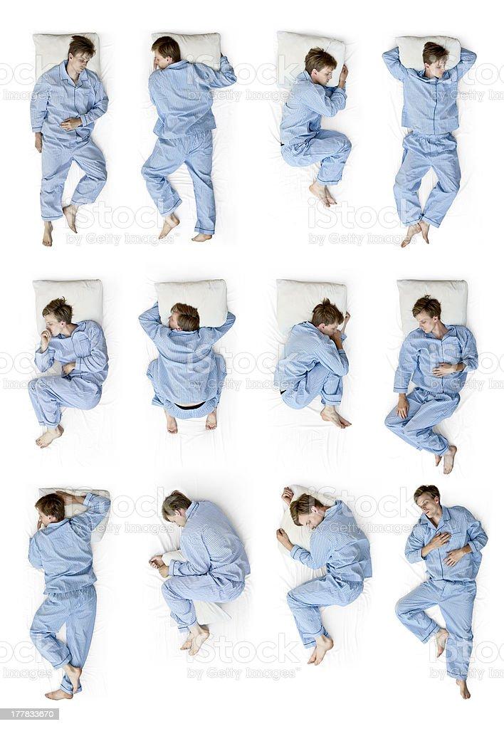 Sleeping position stock photo