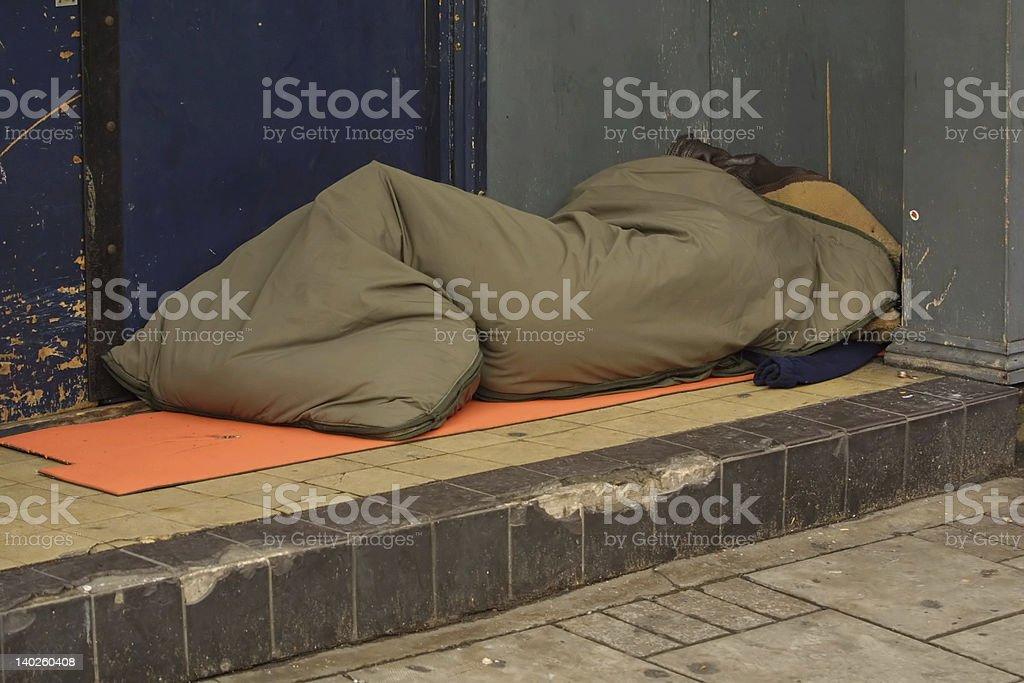 sleeping rough stock photo