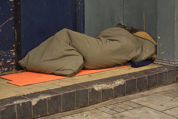 sleeping rough stock photo