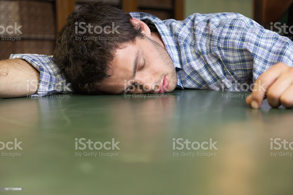 Sleeping student stock photo