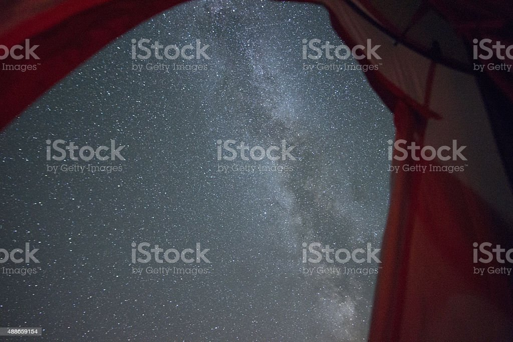 View of Milky Way Galaxy from inside a camping tent.