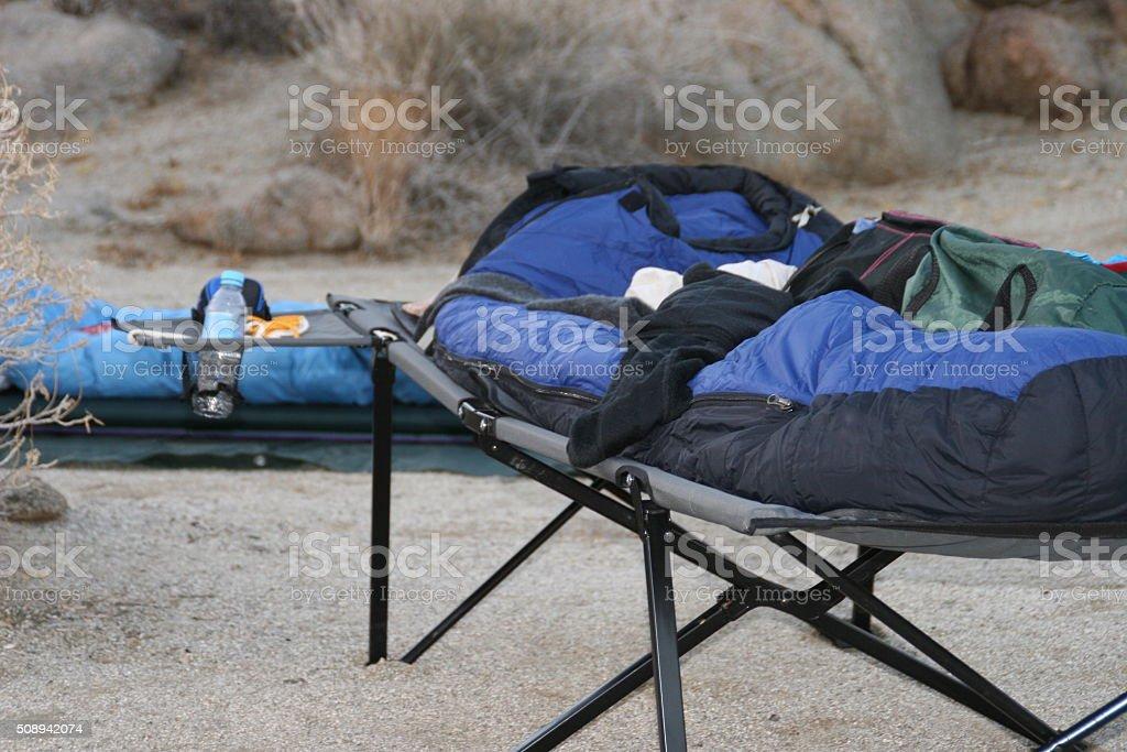 Sleeping under the stars stock photo
