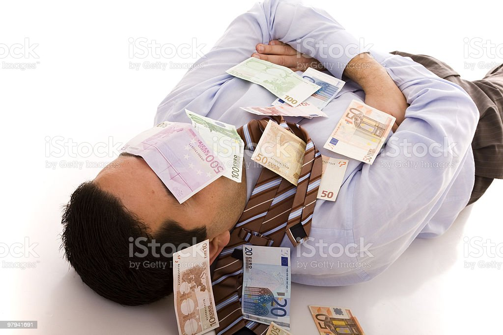 Sleeping with the money royalty-free stock photo