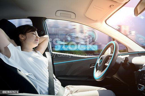 istock sleeping woman in autonomous car. self driving vehicle. autopilot. automotive technology. 692832574