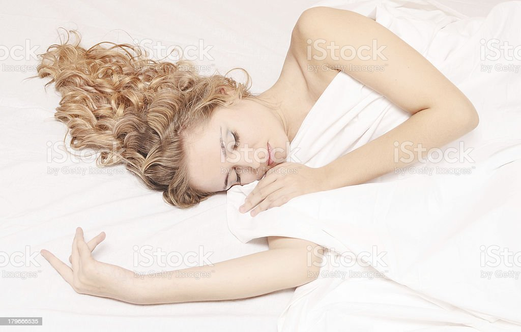sleeping woman royalty-free stock photo