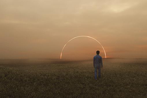 Sleepwalker in fantasy meadow walking into mysterious passage. 3D generated image.