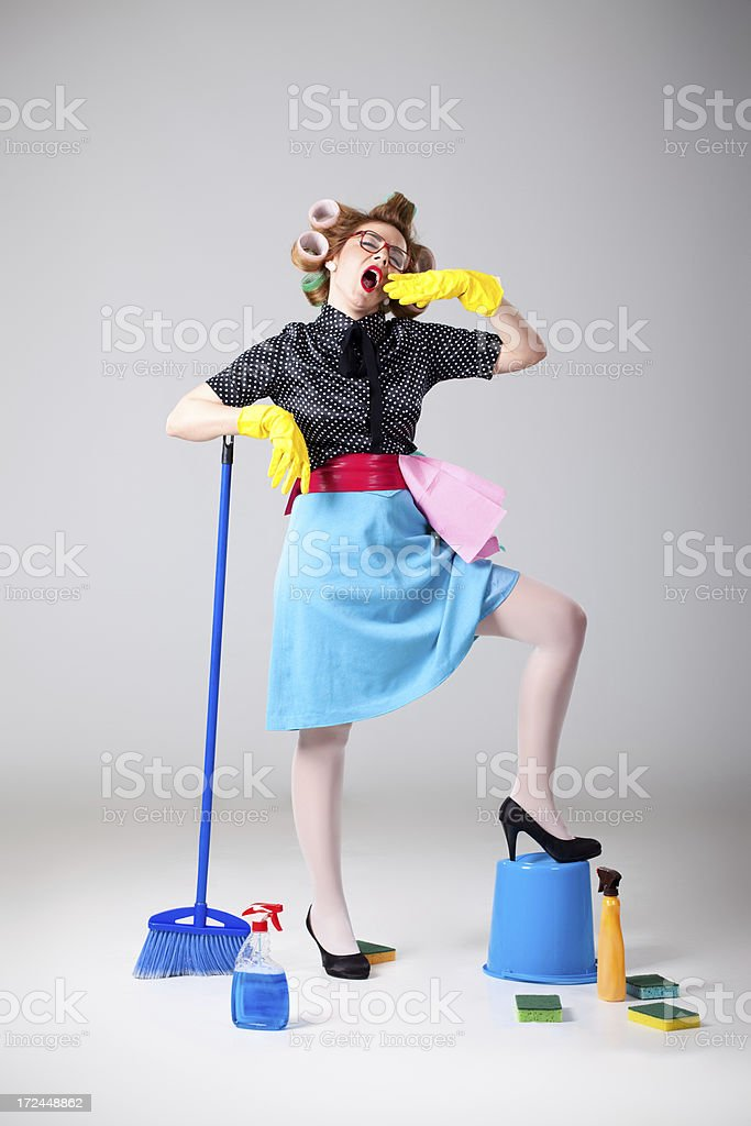 Sleepy and tired housewife royalty-free stock photo