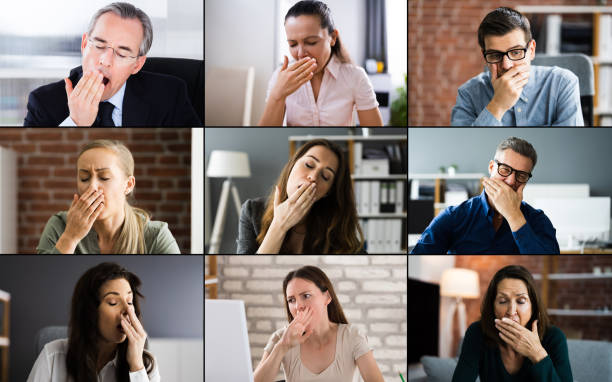 Sleepy Bored Employee Person In Video Conference stock photo