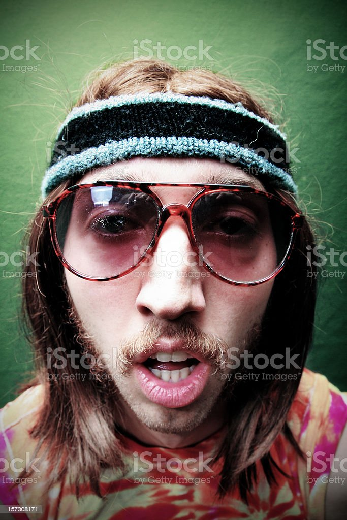 Sleepy Hippy Man with Mustache and Sunglasses royalty-free stock photo