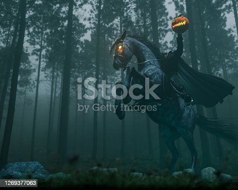 High resolution digital image of the headless horseman character from Washington Irving's The Legend of Sleepy Hallow. This image combines photography, digital painting, and computer generated imagery. The headless horseman is shown on the back of a rearing demonic horse with glowing eyes. He holds a pumpkin aloft in his left hand. The setting is a dark and misty forest. Shot with a wide angle lens, from a low camera angle.
