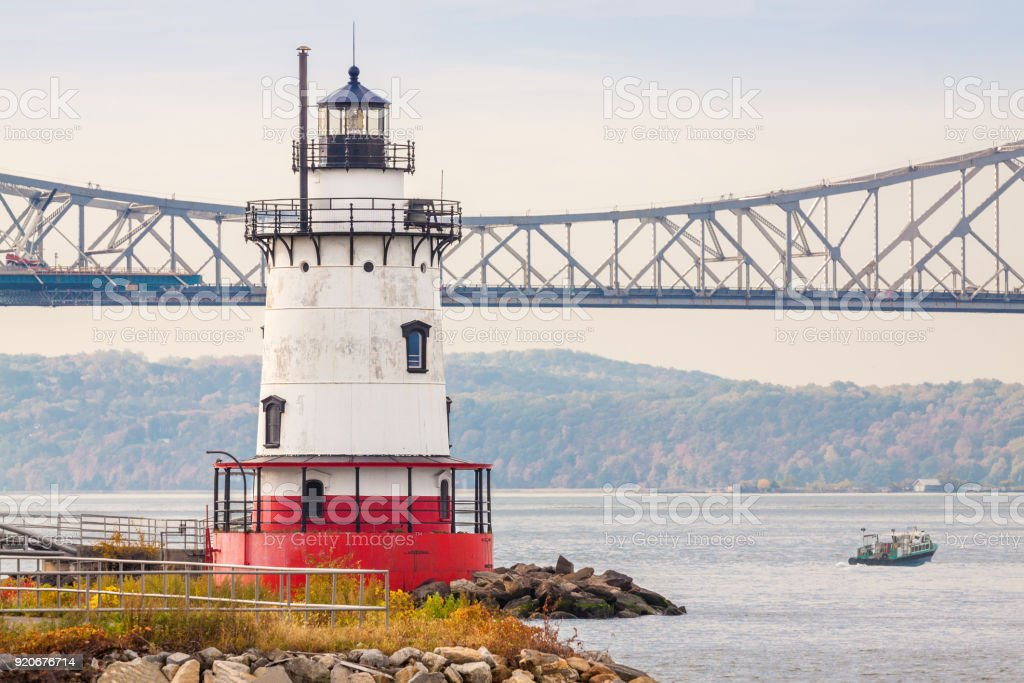 Sleepy Hollow Lighthouse, Tappan Zee Bridge and Hudson River, Tarrytown, Hudson Valley, New York. stock photo