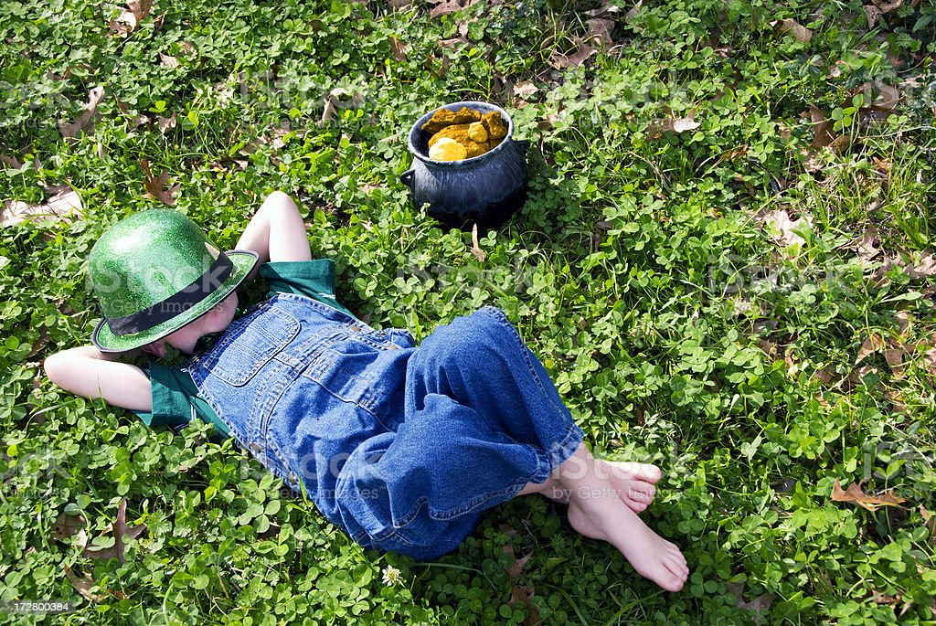 Sleepy Leprechaun stock photo