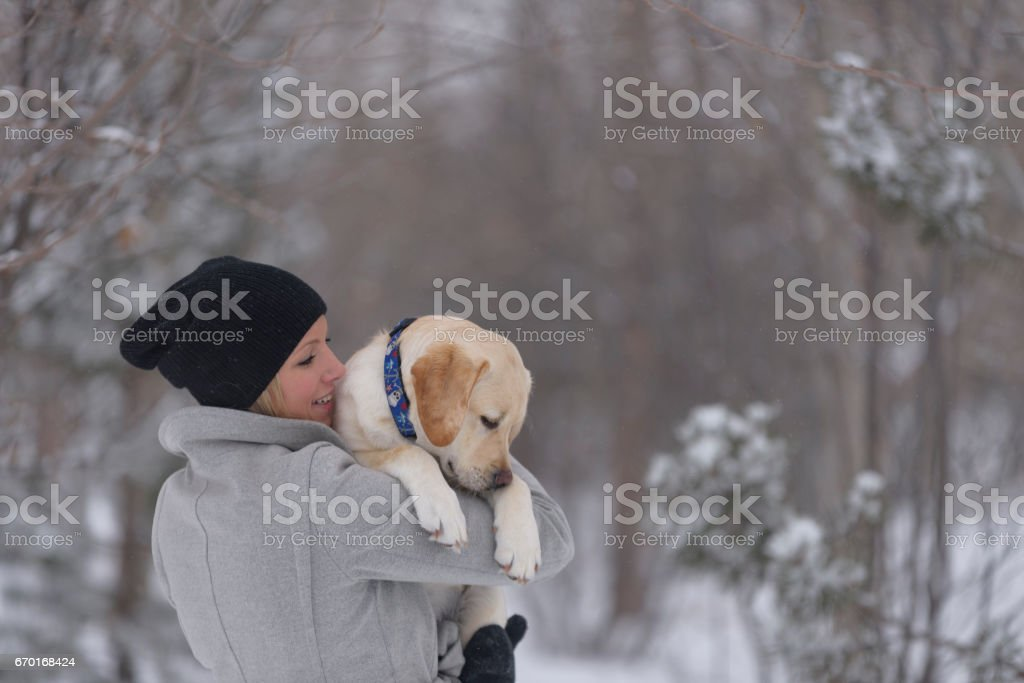 Sleepy puppy naps in his owners arms in snowy forest stock photo