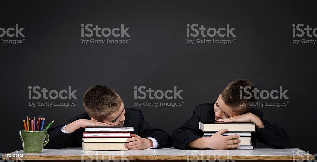 sleepy school boys royalty-free stock photo