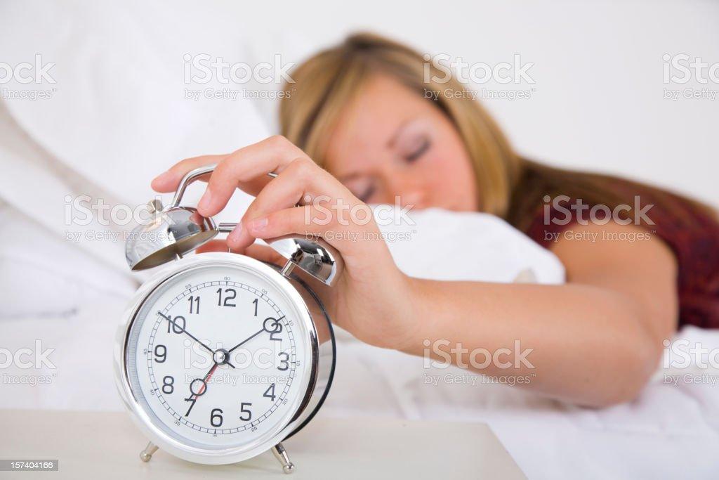 Sleepy Teenage Girl Laying in Bed royalty-free stock photo