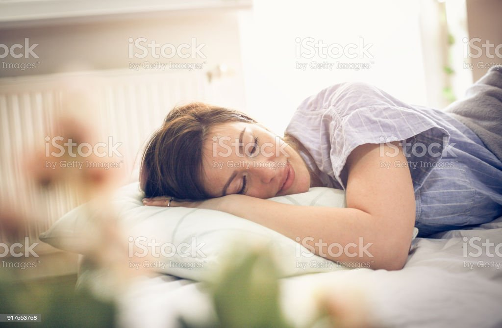 Sleepy woman. stock photo