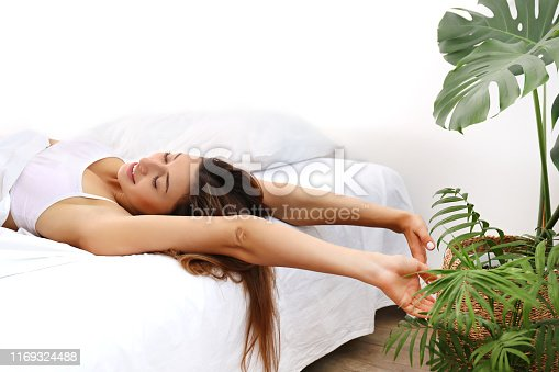 Young beautiful woman in her bed after waking up in the morning. Sleepy brunette female with satisfied facial expression. Healthy sleepiing habbits concept. Close up portrait, copy space, background.