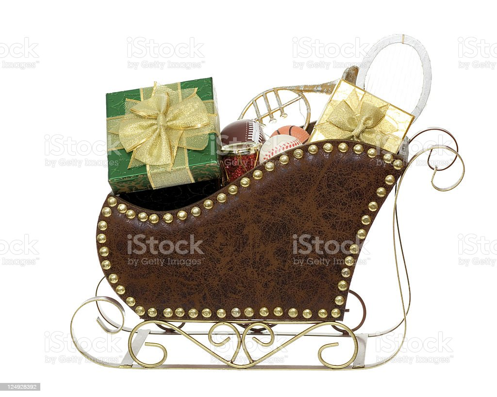 Sleigh Full of Presents and Toys royalty-free stock photo