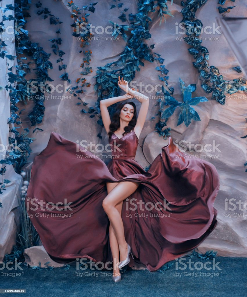slender attractive lady like picture of gorgeous artist, flying...