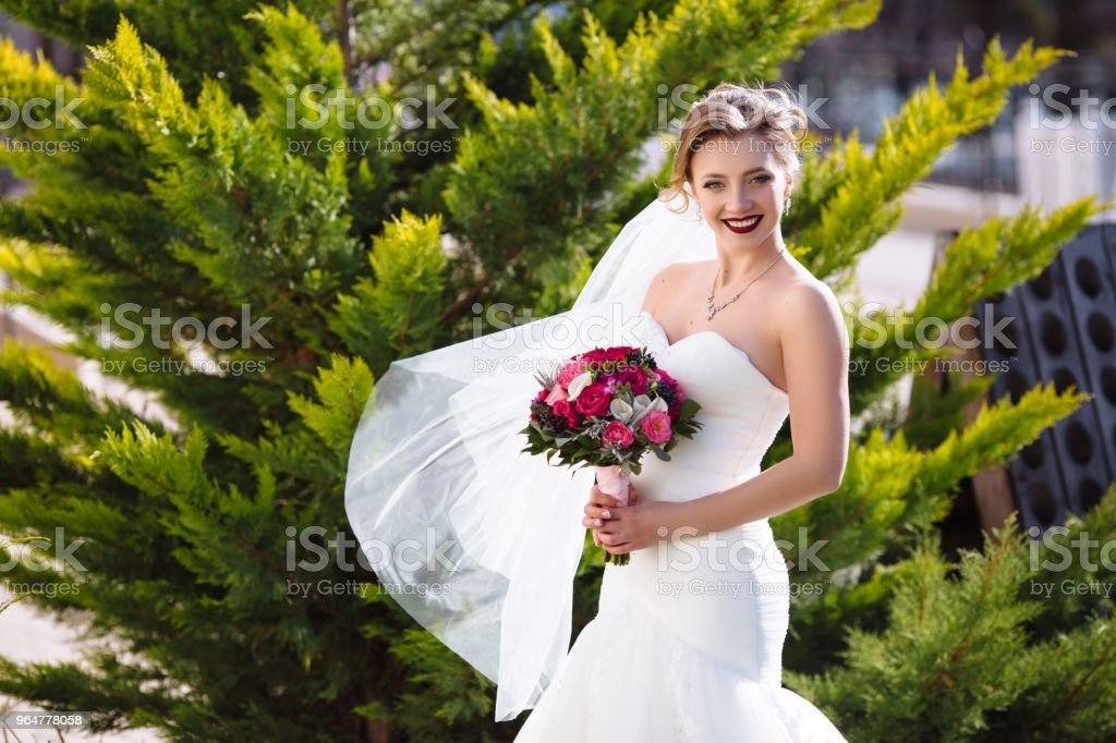 A slender bride in a tight wedding dress is standing in the garden on the background of trees. A gust of wind blows her dress and cotton wool, the girl cheerfully smiles and enjoys the moment royalty-free stock photo