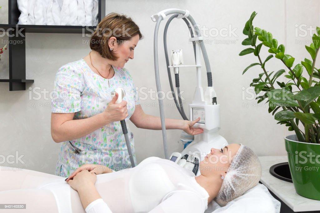 Slender brunette massaged