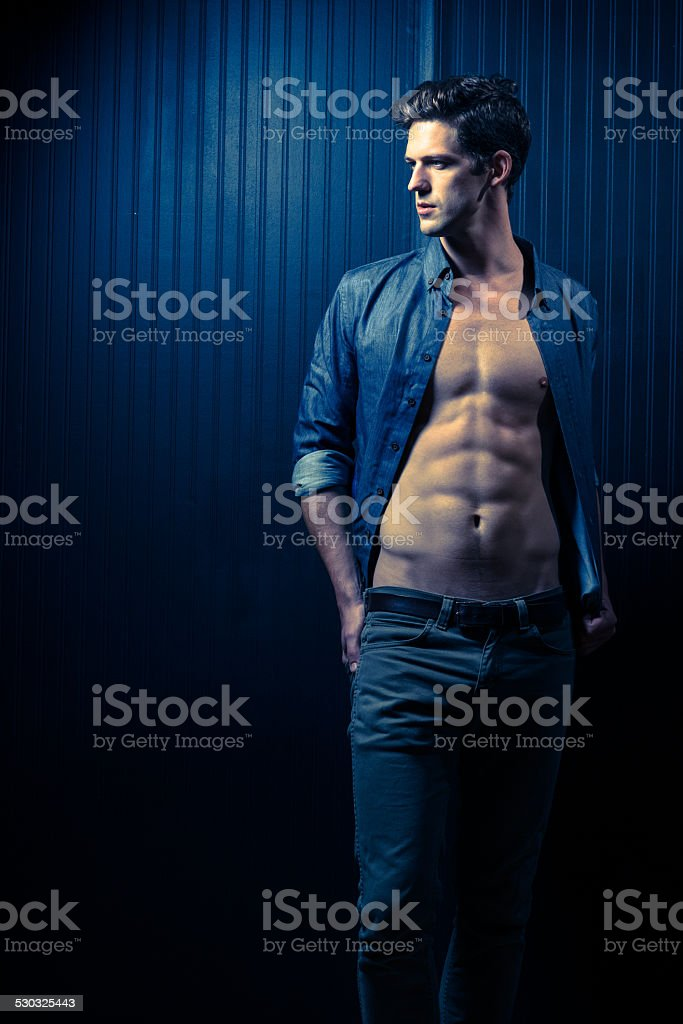 Slender Male Washboard Abs stock photo