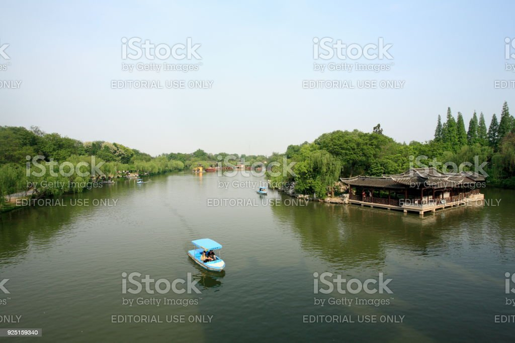 Slender West Lake (Shou Xi Hu) in Yangzhou city stock photo