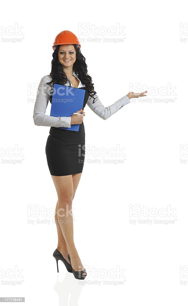 slender  woman construction helmet royalty-free stock photo