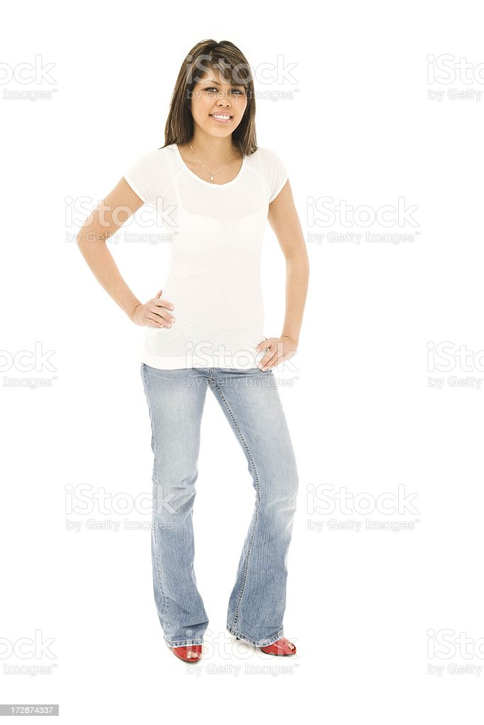 Slender Young Woman in T-shirt and Jeans royalty-free stock photo