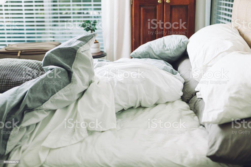 slept in bed stock photo
