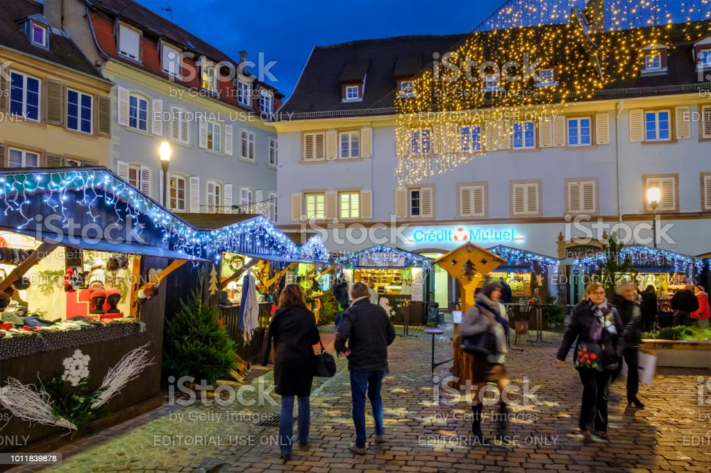 People at the traditional Christmas market in the downtown of...