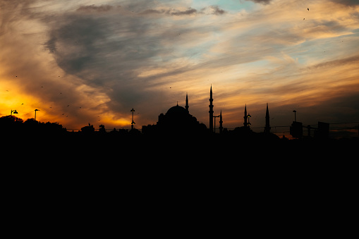 sihouette of  süleymaniye mosque at sunset