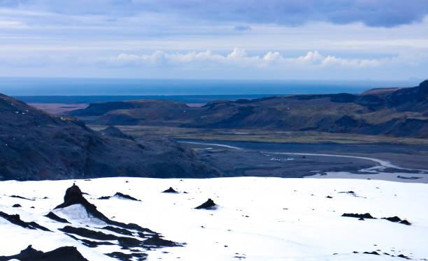 Sólheimajökull glacier panorama, Iceland Sólheimajökull, an outlet glacier of the larger Mýrdalsjökull ice cap atop the Katla caldera in southwestern Iceland. sólheimasandur stock pictures, royalty-free photos & images