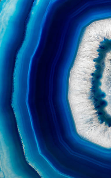 Slice background  of  blue agate crystal stock photo