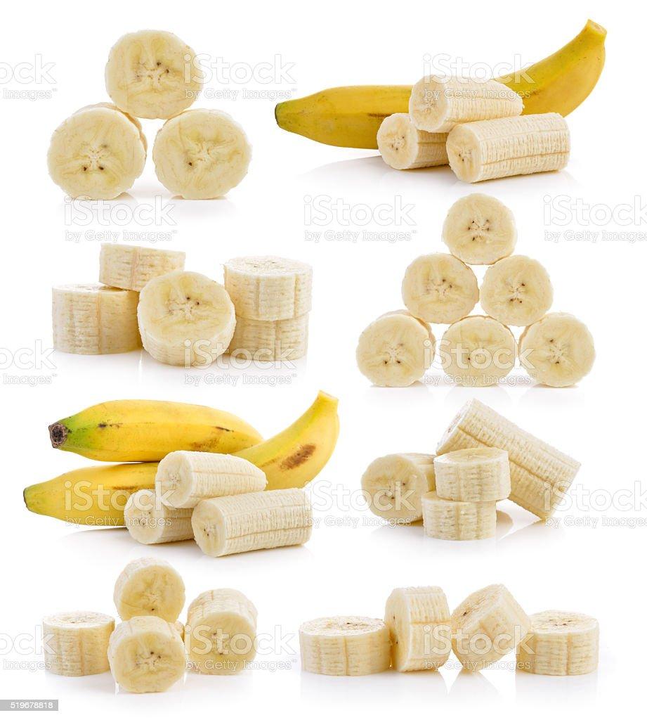 slice banana on white background stock photo