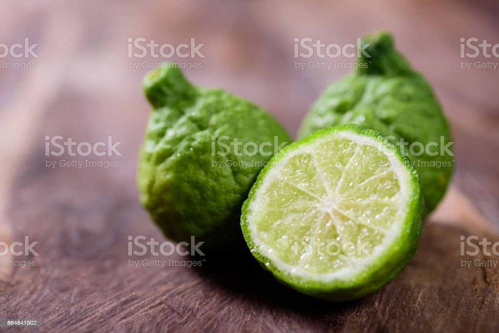 Slice bergamot fruit or kaffir lime stock photo