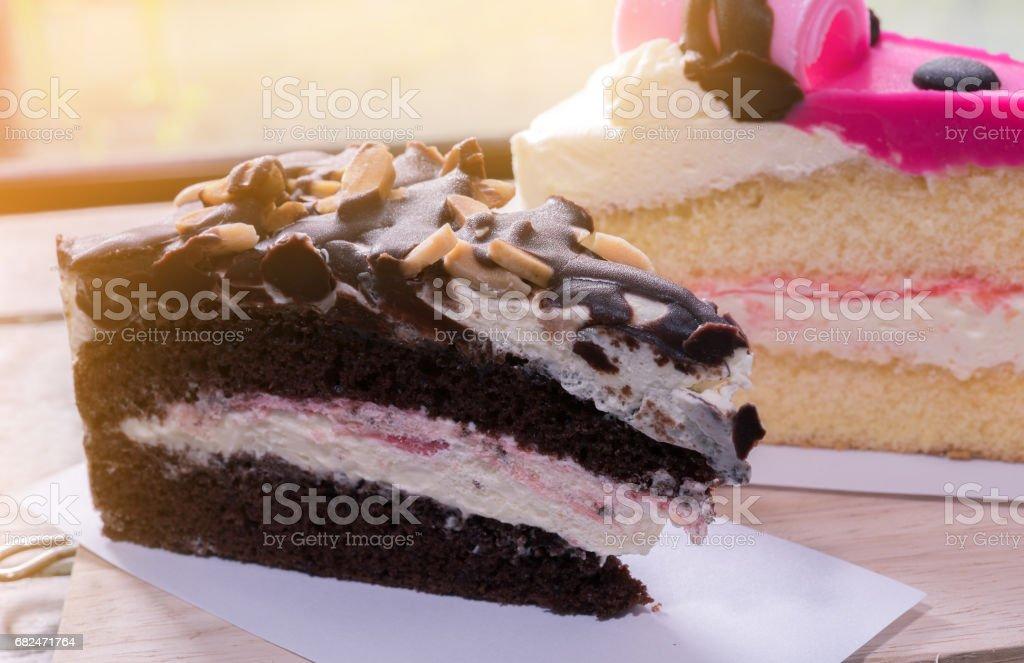 slice chocolate cake cream royalty-free stock photo
