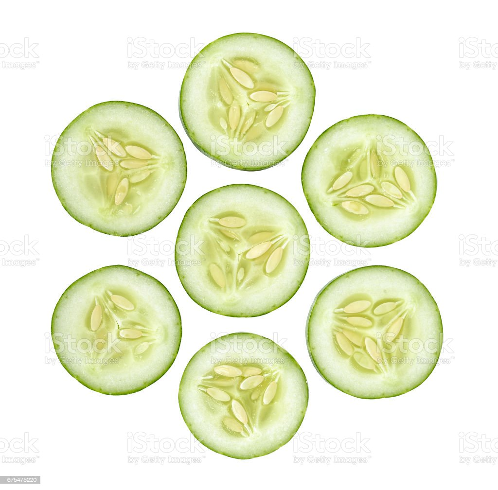 Slice Cucumber isolated on the white background photo libre de droits