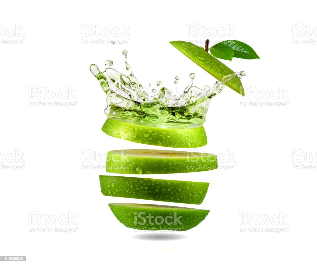 Slice green apple water splash, fruit stock photo