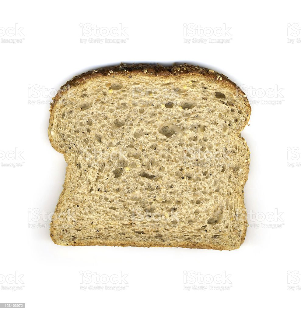 Slice of 14 grain whole wheat bread stock photo