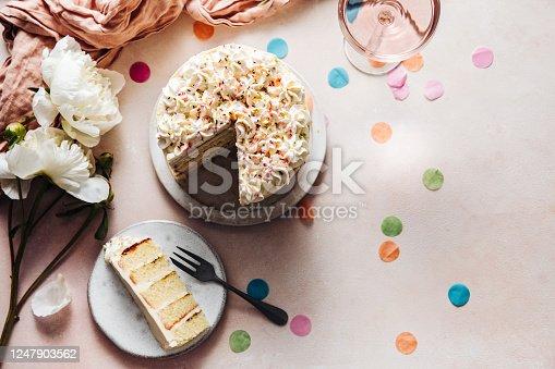 istock Slice of a birthday cake on plate 1247903562
