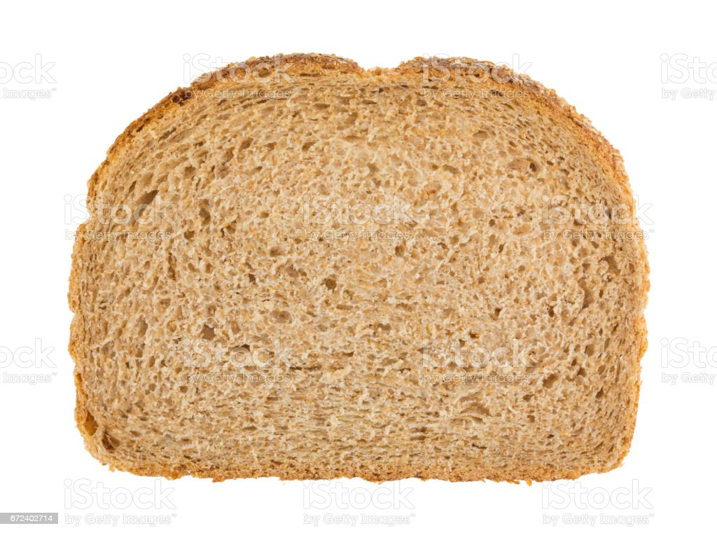 Slice of all natural wheat bread stock photo
