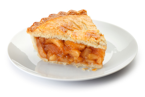 Slice of apple pie on a plate isolalted on a white background