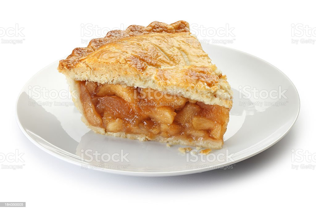 Slice of apple pie on a plate isolalted on a white background stock photo