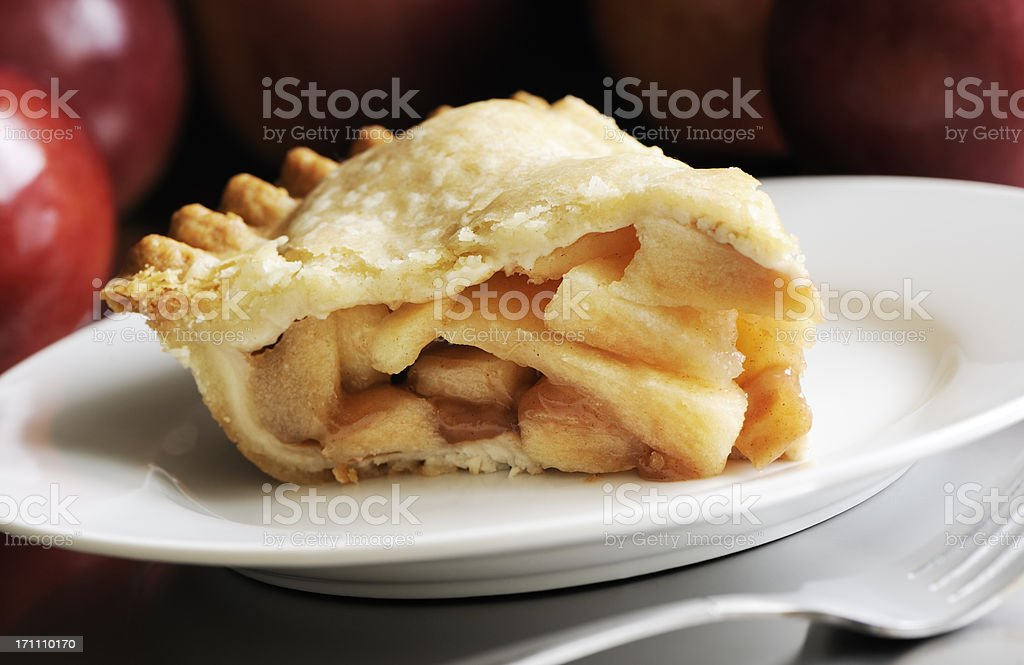 Slice of apple pie stock photo