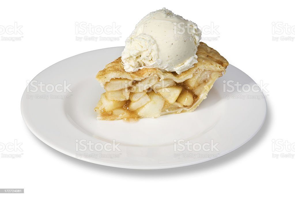 Slice of apple pie with ice cream stock photo